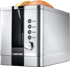 Chefman 2-Slice Pop-Up Stainless Steel Toaster w/ 7 Shade Settings, Extra Wide Slots for Toasting Bagels