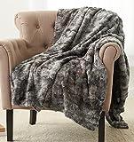 Pinzon Faux Fur Throw Blanket 63' x 87', Frost Grey