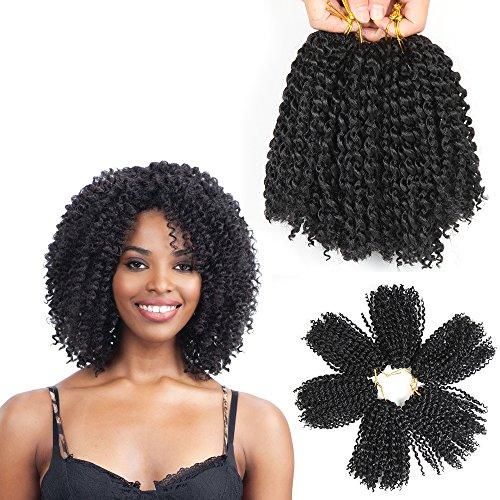 8 Inch Short Marlybob Crochet Hair 6 Bundles/Lot Kinky Curly Crochet Braids Ombre Braiding Hair Synthetic Hair Extension (1B#)