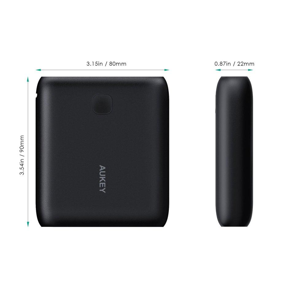 AUKEY モバイルバッテリー スマホ充電器 10000mAh 2USBポート同時充電 薄型 軽量 急速USB充電器 iPhone 7 / iPhone 7 Plus / iPhone 6s / iPhone / iPad / iPod / Xperia / Galaxy / Nexus 他対応 【AiPower搭載】 (ブラック) PB-N42