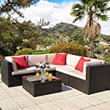 Homall 6 Pieces Outdoor Furniture Patio Sectional Sofa Sets All Weather PE Rattan Manual Wicker Conversation Set with Washable Cushions and Glass Table (Brown)