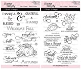 Stamp Simply Clear Stamps Thanksgiving Welcome Fall and Harvest Christian Religious (2-Pack) 4x6 Inch Sheets - 24 Pieces
