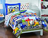 Dream Factory Trucks Tractors Cars Boys 5-Piece Comforter Sheet Set, Blue Red, Twin