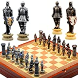 Designcovers Medieval Knight Chess Set Wooden Playing Board and Storage Area