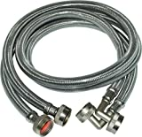 Eastman 48378 Stainless Steel Washing Machine Hoses with 90 Degree Elbow, 6 Ft, Silver, 1-Pair