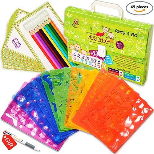 Drawing stencils set for kids 49 piece perfect for Arts and crafts sets for kids