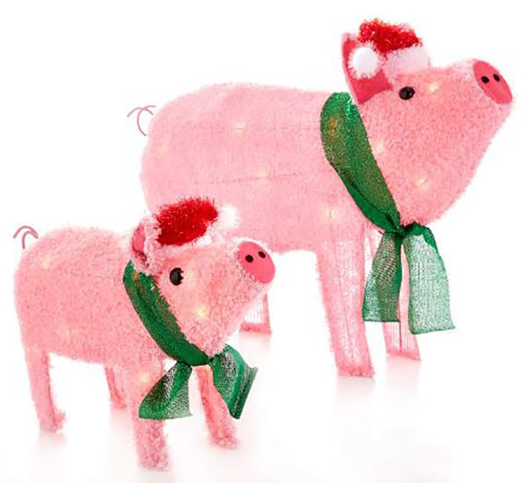 Com Light Up Holiday Pigs Statues 2 Piece Set Garden Outdoor