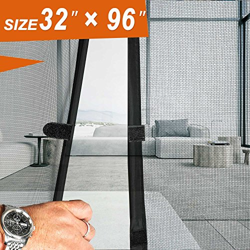 "Magnetic Screen Door 36 x 96, Mosquito Door Mesh 36 X 96 Fit Doors Size Up to 34""W X 95""H Max with Full Frame Hook & Loop Large Magnet French Door Curtain Keep Fly Mosquito Out"