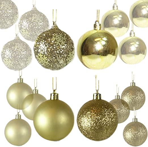 Amazon Com Banberry Designs 64 Ct Christmas Ball Ornaments Shatterproof Gold Balls For Holiday Wedding Party Decor Trim A Tree Decorations Xmas Ornament Set Hanging Balls Pendants 60mm Home Kitchen
