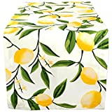 DII Cotton Table Runner for Dinner Parties Summer BBQ & Outdoor Picnics, 14x108', Lemon Bliss