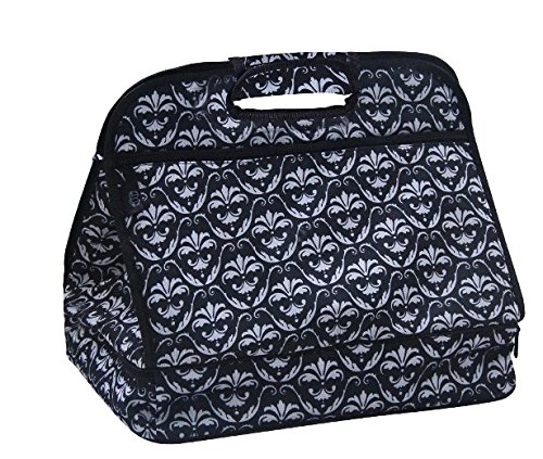 Insulated Casserole 2 Compartment Carrier Tote for Picnics and Tailgating (Black Damask)