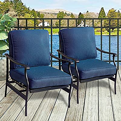 Amazon Com Patiofestival Patio Chairs Bistro Rocking Sofa Chair Modern Outdoor Furniture Set Conversation Sets With 5 1 Inch Thick Seat Cushions 2pcs 2 Blue Garden Outdoor