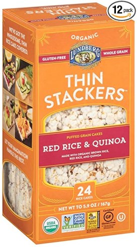 Lundberg Family Farms Organic Thin Stackers Grain Cakes, Red Rice and Quinoa, 5.9 Ounce (Pack of 12)