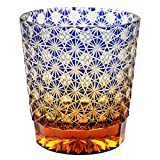 Crystal Double Old Fashioned Bar Glass 8.8oz Edo Kiriko Eternal Flower Design Cut Glass - Blue x Amber [Japanese Crafts Sakura]
