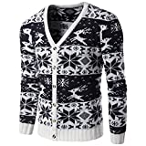 Product review for Wintie Men's V-Neck Button Down Knitted Cardigan Sweater With Christmas Detail Black