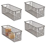 """mDesign Farmhouse Decor Metal Wire Food Storage Organizer Bin Basket with Handles for Kitchen Cabinets, Pantry, Bathroom, Laundry Room, Closets, Garage - 16"""" x 6"""" x 6"""" - 4 Pack - Bronze"""