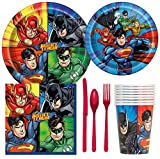 Justice League Superhero Birthday Party Supplies Pack Including Cake & Lunch Plates, Cutlery, Cups & Napkins for 8 Guests