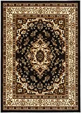 Antep Rugs Kashan King Collection Himalayas Oriental Polypropylene Indoor Area Rug (Black/Beige, 8' x 10')