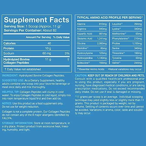 Collagen Peptides Powder 'XL' Jar 32oz | Non-GMO Verified, Certified Paleo Friendly & Gluten Free - Unflavored 9