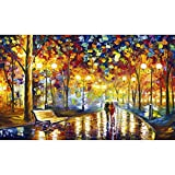 Crafts Graphy 5D Cross-stitch Painting with Diamonds Kit Full Drill – Circular Drill, Love Street, Large Size 16 x 20 Inches