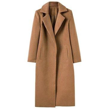 Hunleathy Women's Classic Long Overcoat Jacket Wool Blend Warm Winter Cardigan Coats Brown M