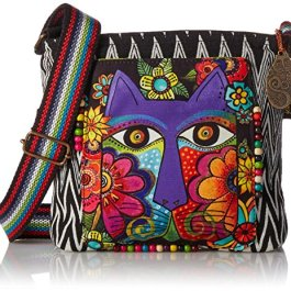 Laurel Burch Crossbody Bag, 13.5 by 4 by 10-Inch, Blossoming Feline