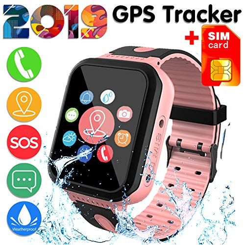 [SIM Card Included]Kids Smart Watch Phone for Girls Boys - IP68 Waterproof GPS Tracker Locator Touch Camera Games SOS Outdoor Digital Wrist Cellphone Watch Bracelet for Holiday Birthday Gifts (01Pink)