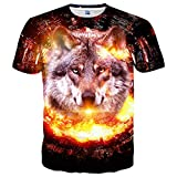Linnhoy Mens 3D Printed Pattern Short Sleeve Shirt Cool Graphics Tees M