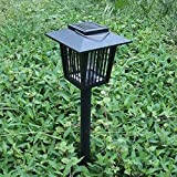 G0O03q3e Mosquito Repellent Lamp,Solar Powered Outdoor Insect Mosquito Resistant Bug Zapper Garden LED Lawn Light - Black
