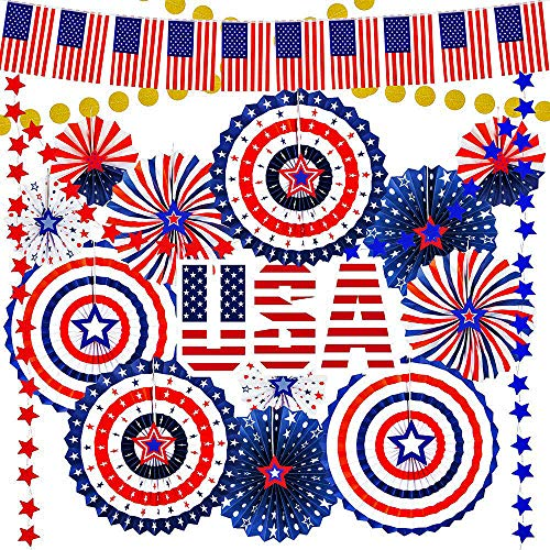 Supla 43 Pack Patriotic Decorations 4th of July Red White Blue Decorations American Flag Banner Hanging Paper Fans Star Garland Gold Glitter Dots Garland Streamers for Independence Day Memorial Day USA Party Decoration