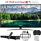 LG 49SM8600PUA 4K HDR Smart LED NanoCell TV w/AI ThinQ (2019) w/Soundbar Bundle Includes Deco Gear Home Theater Surround Sound 31' Soundbar, Flat Wall Mount Kit for 32-60 inch TVs and More
