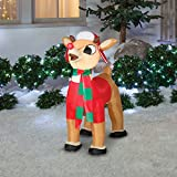 Gemmy 3.5 Foot Inflatable Rudolph With Winter Clothes