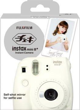 FUJIFILM インスタントカメラ チェキ instax mini8プラス 接写レンズ・純正ハンドストラップ付き バニラ INS MINI 8P VANILLA