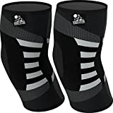 Elbow Compression Sleeves (1 Pair) - Support for Tendonitis Prevention & Recovery - 1 Year Warranty (Large,...