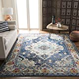 Safavieh Monaco Collection MNC243N Vintage Bohemian Navy and Light Blue Distressed Area Rug (9' x 12')