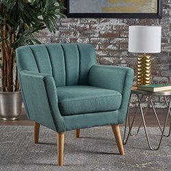 Christopher Knight Home Merel Mid-Century Modern Fabric Club Chair, Dark Teal / Natural