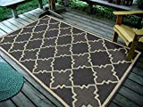 Furnish my Place Contemporary Geometric Trellis, CharcoalIndoor and Outdoor Area Rug, Easy to Clean, UV Protected/Fade Resistant