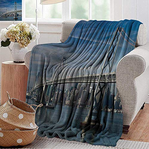 PearlRolan Throw Blanket for Couch San Francisco Bay Bridge in The Morning Historic City Structure Panoramic Picture Print Blue Gray Flannel Blankets Super Soft Warm Thick Blanket for Home 70'x90'