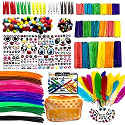 Cre8tivePick Art and Craft Kit for Kids DIY Art Supplies Set with eBook Popsicle Sticks for Craft Colored Wooden Clothspin Chenille Stems Pom Poms Wiggle Googly Eyes Feather Assorted Pipe Cleaner