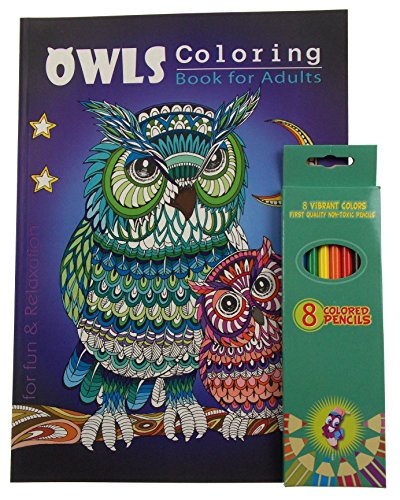 Owls Theme Adult And Teen Coloring Book Bundled With Vibrant Colored Pencils