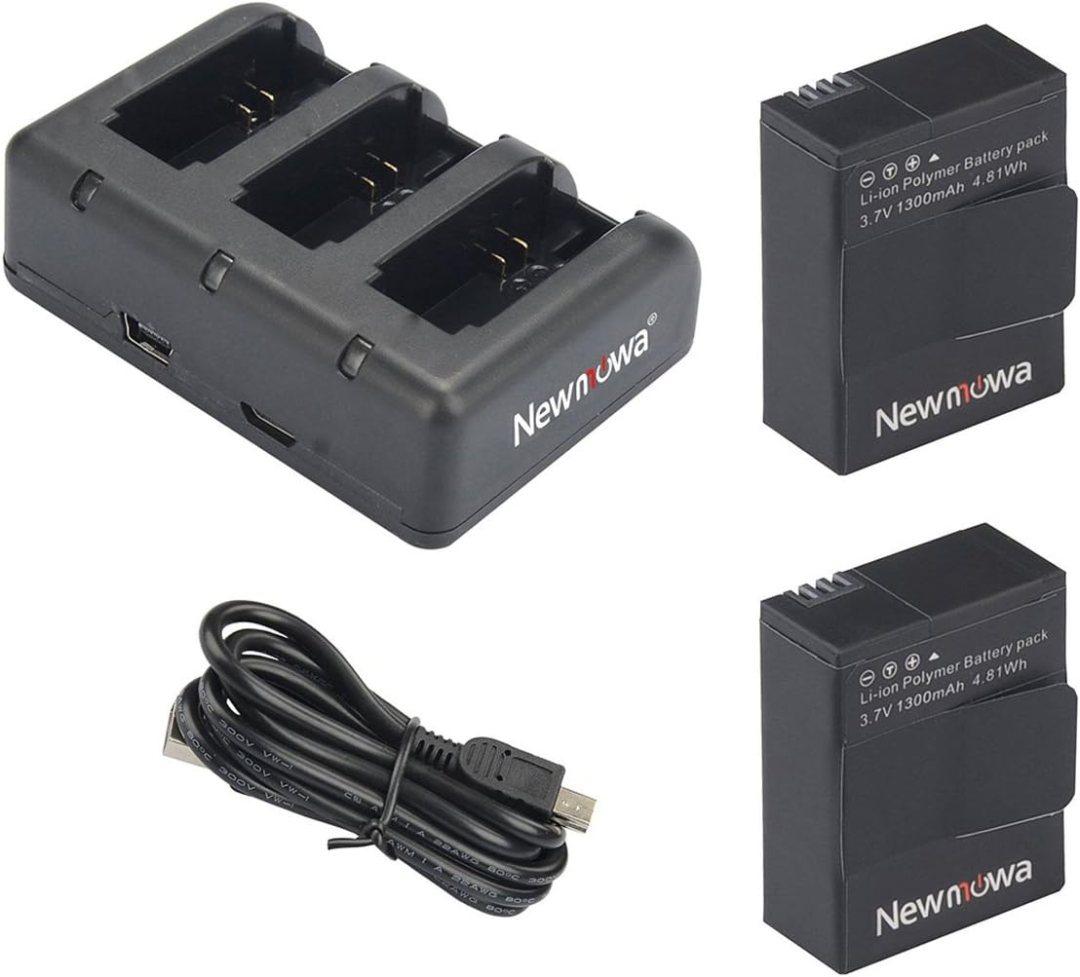 Newmowa 1300mAh Rechargeable AHDBT-302 Remplacement Batterie (2-Pack) et Rapid 3 canaux Chargeur USB pour Gopro Hero 3 3+ AHDBT-301 302.