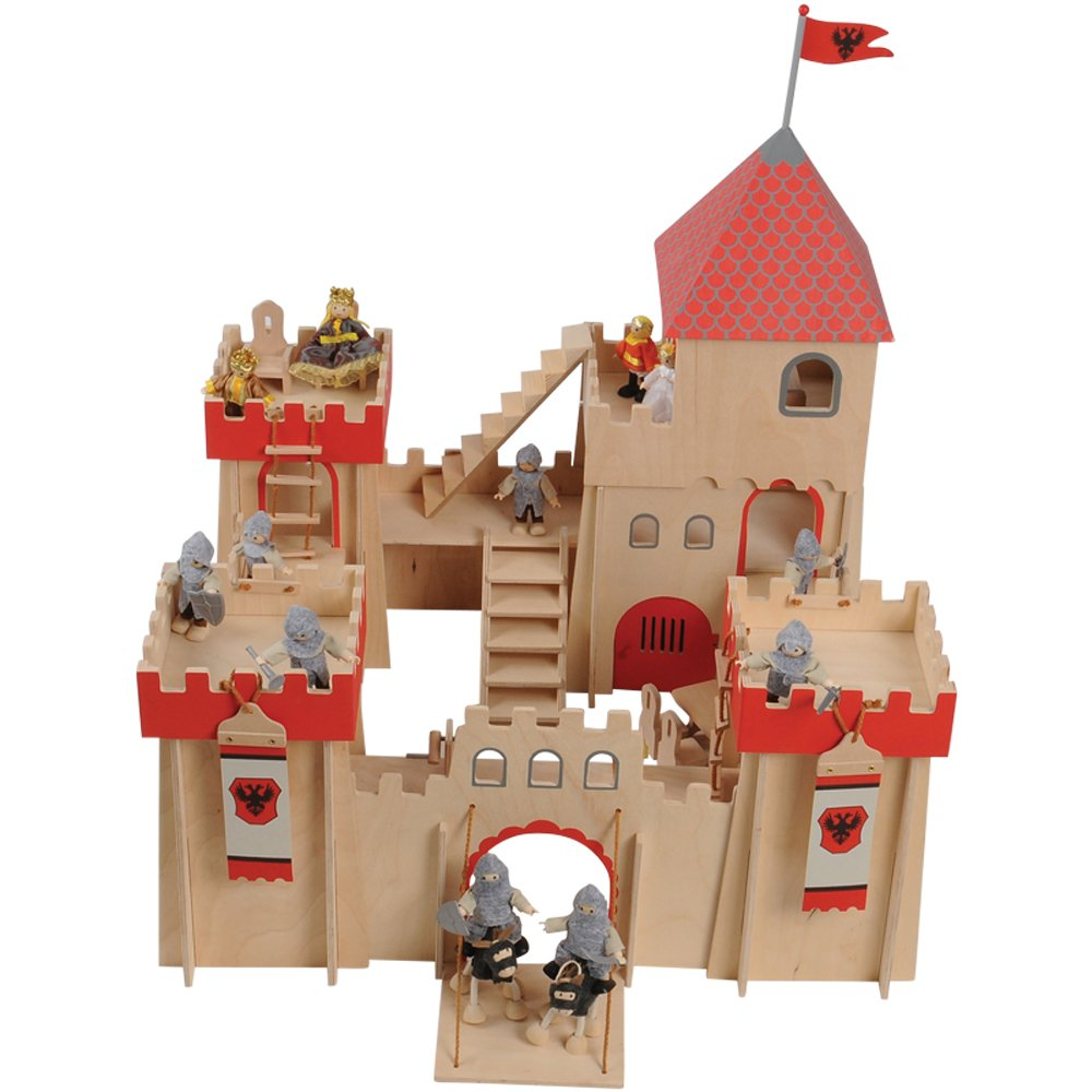 Constructive Playthings Classic Wooden Castle Playset – Includes 14 Posable Figurines and 8-Piece Wooden Furniture Set