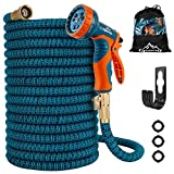 Gpeng 50 ft Garden Hose Expandable, Retractable Collapsible Water Hose with 3-Layers Latex and Extra Strength Fabric, 3/4' Solid Brass Fittings Flexible Kink Free Hose with 9 Function Spray Nozzle