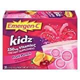 Emergen-C Kidz Dietary Supplement Drink Mix With 250mg Vitamin C, 0.33 Ounce Packets, Caffeine Free (Fruit Punch Flavor, 30 Count)