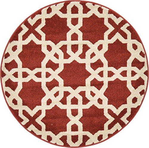 Unique Loom Trellis Collection Geometric Modern Dark Terracotta Round Rug (3' 3 x 3' 3)