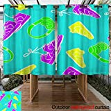 Outdoor Balcony Privacy Curtain Graphic Bright Sneakers and Headphones Seamless Pattern Vector W96 x L72