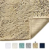 Bath Mat Super Soft Bath Rug for Bathrooms Microfiber Chenille Plush Rugs for Powder Room Indoor Rugs for Entryway, 17 x 24 Inches, Beige