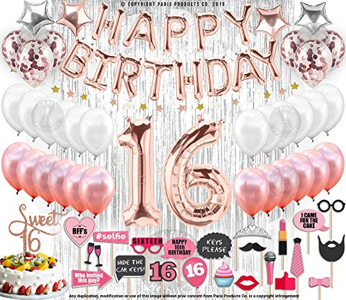 130 PCS 16th Birthday Decorations Party Supplies Sweet 16 Birthday Balloons | Rose Gold Confetti Balloons|16 Cake Topper Rose Gold| Silver Curtain for Photo Booth Photo Props | Sweet Sixteen Decorati