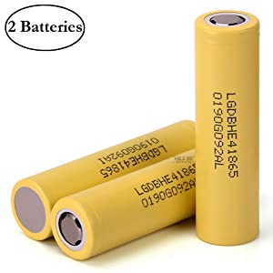 2 Pcs Original HE4 2500mAh 20A Rechargeable LG Flat Top Li-ion Battery for Electric Tools, E-Bikes, Toys, LED Flashlights, Torch, and Etc