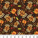 Thanksgiving Pumpkins and Turkeys Cotton Fabric by The Yard
